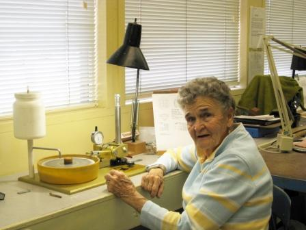 Shirley Burns doing faceting in our shop.